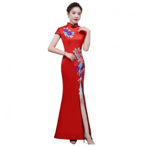 Chinese dress retro china qipao dresses Cheongsam stage performance Miss etiquette stage performance evening party dress
