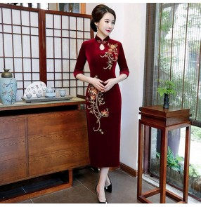 Chinese Dress traditional chinese qipao dresses for women miss ettiquette photos stage performance host singers film cosplay dresses