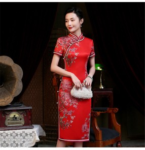 Chinese dress traditional Chinese qipao dresses oriental silk like evening party photo cheongsam dresses for women