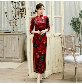 Chinese dress velvet floral printed oriental chinese qipao derss cheongsam model show performing dress