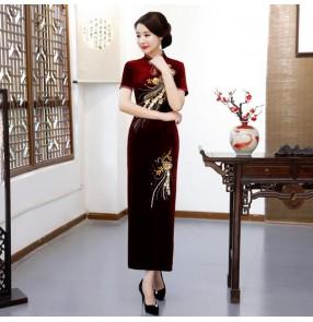 Chinese dress velvet traditional qipao dress oriental cheongsam dress miss etiquette dress