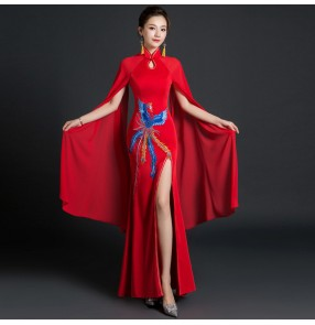Chinese dress women's qipao dress with phoenix pattern oriental traditional performance photos dresses