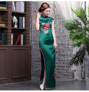 Chinese dress women's traditional china qipao dresses host singers Miss etiquette Stage performance cheongsam dress