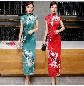 Chinese Dress women's traditional retro cheongsam qipao dresses stage performance Miss etiquette waitress dress