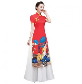Chinese dress yellow red chinese traditional qipao dress oriental style cheongsam dress model show performance dress