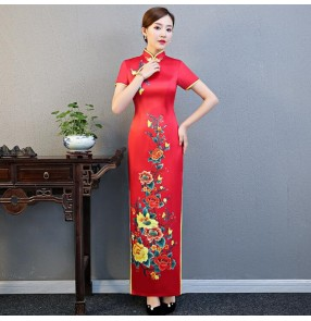 Chinese dresse ancient traditional retro oriental chinese qipao dresses stage performance miss etiquette host evening party cheongsam dresses