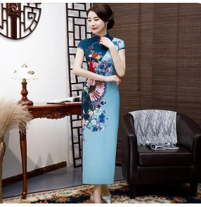 Chinese dresses blue qipao dress traditional china cheongsam orinetal dress model show stage performance host dress