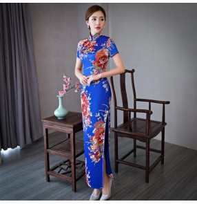 Chinese dresses cheongsam traditional retro qipao dresses miss etiquette cheongsam model performance dresses