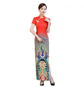 Chinese dresses china qipao dress traditional oriental drama cosplay cheongsam dress miss etiquette show dress