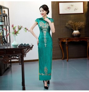 Chinese dresses chinese traditional retro qipao dresses host singers model show miss etiquette performance party dresses