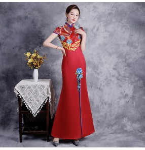 Chinese Dresses for women traditional oriental qipao dress cheongsam embroidered mermaid dress toast annual meeting host catwalk performance dresses