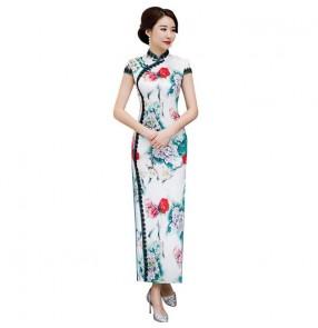 Chinese dresses oriental qipao dresses cheongsam dress miss etiquette evening model show performing dress
