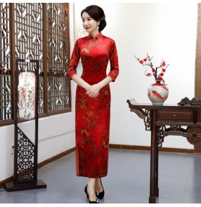 Chinese dresses oriental traditional qipao dress cheongsam dress host model show stage performance evenig dress