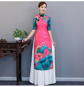 Chinese dresses qipao dress retro oriental women's cheongsam dress model show performance party dress