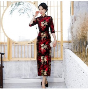 Chinese dresses qipao dress traditional oriental style cheongsam dress model show performing dresses