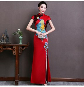 Chinese dresses retro china qipao dresses cheongsam miss etiquette show stage performance dress