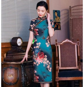 Chinese dresses traditional chinese qipao dress dark green floral retro oriental dresses show photos miss etiquette dresses for women