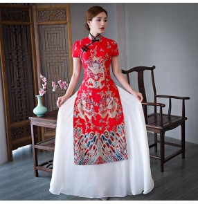 Chinese dresses women's traditional chinese qipao dresses host model stage performance evening party cheongsam dresses