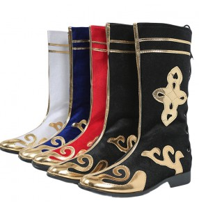 Chinese Ethnic Minority Mongolian boots for girls women and men Performance dance boots children catwalk drum shoes