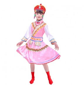 Chinese Ethnic minority mongolian stage costumes for girls kids mongolia robes Primary school kindergarten Daur dance costumes