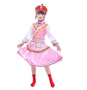 Chinese Ethnic minority mongolian stage costumes for girls kids mongolia robes Primary school kindergarten Daur dance costumes