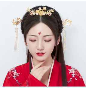 Chinese fairy princess Costumes phtotos empress headdress Hanfu Hair Headdress Tassel Hairpin Set chinese Ancient drama cosplay Hair Crown