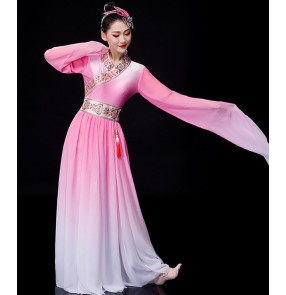 Chinese folk Classical dance costumes hanfu for women's water sleeves folk dance costumes plucking Chinese style pink fairy dress
