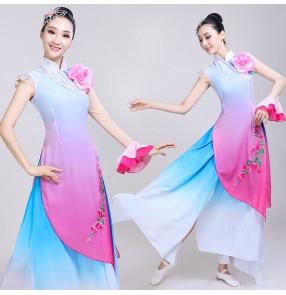 Chinese folk Classical dance performance costume for women Chinese ethnic elegant fairy fan dance dress Yangko costume for female