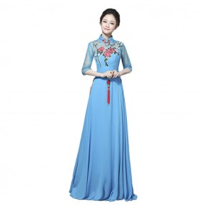 Chinese folk dance chorus singers dresses ancient traditional china style cheongsam qipao fairy stage performance competition long chinese dress