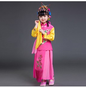 Chinese folk dance costumes Children's Beijing opera Qiao Huadan dance costumes pecking opera drama performance dress clothes