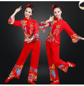 Chinese folk dance costumes chinese drum dance dresses yangko dance dresses for women female fan umbrella dance clothes for female