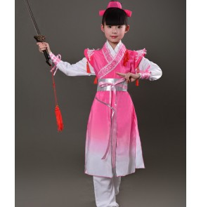 Chinese folk dance costumes for boy kids children dance  hanfu Confucius school warrior swordsmen performance dresses