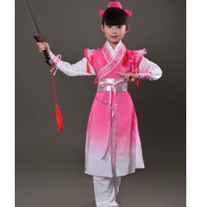 Chinese folk dance costumes for boy kids children dance  hanfu Confucius school warrior swordsmen performance dresses