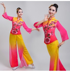 Chinese folk dance costumes for female women pink with gold yangko classical ancient traditional fan umbrella stage performance dresses clothes