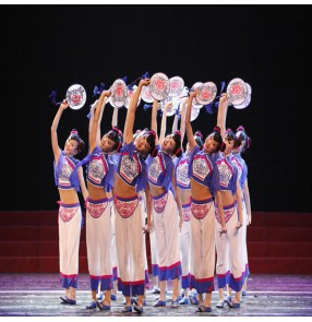 Chinese folk dance costumes for girls children blue color ancient traditional yangko stage performance drama cosplay oriental fan dance studio dance wear