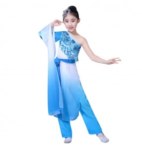 Chinese folk dance costumes for girls children pink blue gradient ancient traditional water sleeves drama fairy cosplay yangko fan dancing clothes