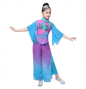 Chinese folk dance costumes for girls kids children ancient traditional blue violet fairy yangko fan dance umbrella oriental dance cosplay dresses