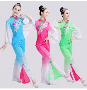 Chinese folk dance costumes for women female green blue yangge fan umbrella dance dresses stage performance square dance costumes