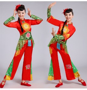 Chinese folk dance costumes for women female red colored yange  drummer yangko fan umbrella dance dresses costumes