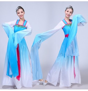 Chinese folk dance costumes for women female yangko pink blue gradient ancient traditional classical stage performance fairy cosplay waterfall sleeves dresses