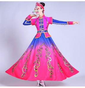 Chinese folk dance costumes for women girl's fuchsia with royal blue gradient colored Mongolian cosplay stage performance robes dresses