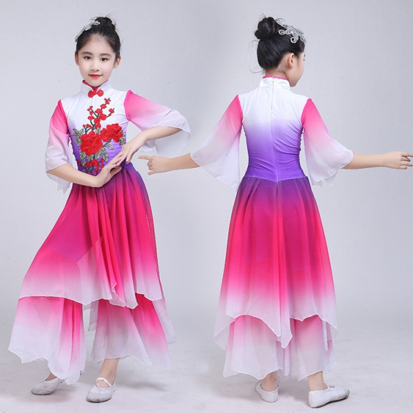 3744a5c4fb14 Chinese folk dance costumes kids girls children ancient traditional fairy  stage performance yangko fan umbrella dance dress costumes