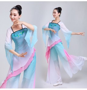 Chinese folk dance costumes traditional yangko fan dance dress costumes for women female