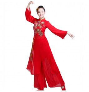 Chinese folk dance costumes yangko traditional ancient fan dancing group dancers stage performance dress clothes