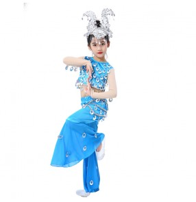 Chinese folk dance dress for girls kids Dai classical belly dance fish singing costumes turquoise color belly dance dresses for girls
