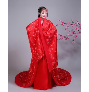 Chinese folk dance dress red hanfu fairy dress chinese ancient red empress queen palace TV drama Stage performance cosplay dress