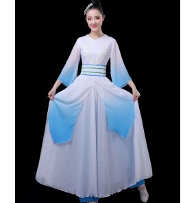 Chinese folk dance dresses fairy classical dance costume hanfu adult chinese folk umbrella dance fan dance performance costumes