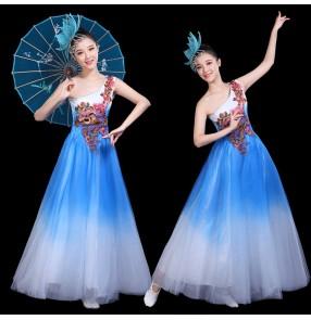 Chinese folk dance dresses for women girls modern dance  fairy oriental fan umbrella chorus singers dance dresses