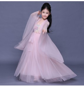 Chinese folk dance dresses pink colored hanfu princess dresses stage performance fairy anime drama film cosplay dresses