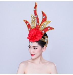 Chinese folk dance head flowers flmaneco headdress dance performance headwear Yangko opening stage performance glitter head flower for female